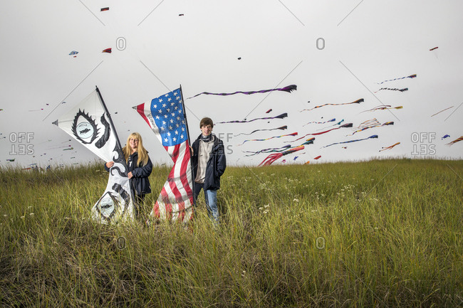 USA, Washington State, Long Beach Peninsula,  - August 22, 2014: portrait of kite flyers Amy Doran with her son Connor Doran at the International Kite Festival, Connor performed on Americas Got Talent and uses his flying to ease the symptoms of his epilepsy