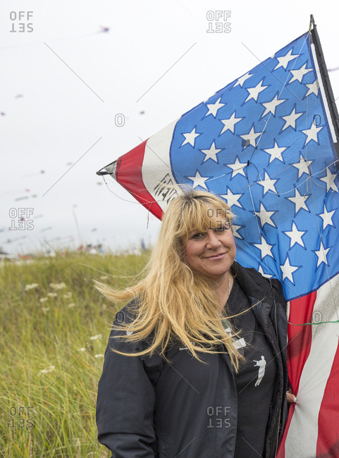 USA, Washington State, Long Beach Peninsula,  - August 22, 2014: portrait of kite flyer Amy Doran at the International Kite Festival, mother of Connor Doran who performed on Americas Got Talent and uses his flying to ease the symptoms of his epilepsy
