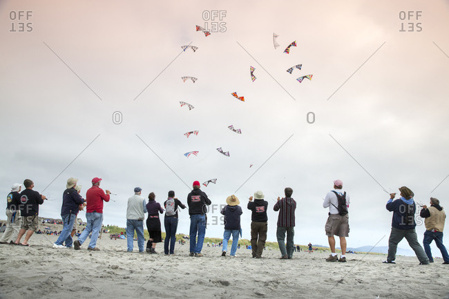 USA, Washington State, Long Beach Peninsula,  - August 22, 2014: International Kite Festival, Multiline Precision kite flying competition