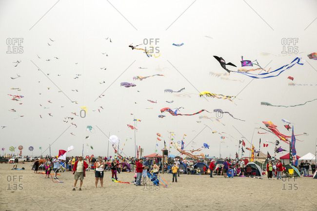 USA, Washington State, Long Beach Peninsula, - August 23, 2014: International Kite Festival, one of the mass kite ascensions
