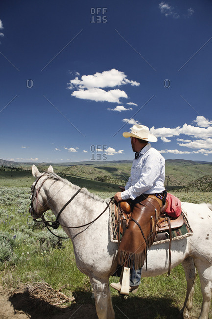 USA, Wyoming, - June 30, 2010:  Encampment, a cowboy sits on his horse and looks to the horizon, Abara Ranch