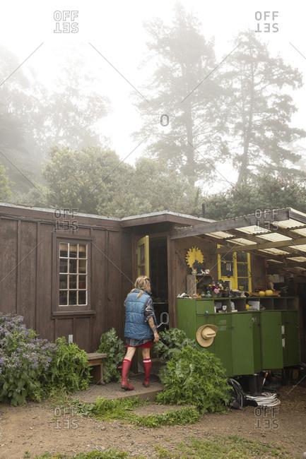 USA, California, Big Sur, Esalen,  - May 13, 2013: Kat enters a garden shed to retrieve some tools in the Buddha Garden
