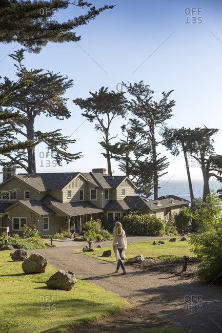USA, California, Big Sur, Esalen,  - May 13, 2013: walking towards the Murphy House, the Esalen Institute