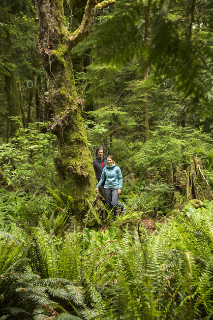 CANADA, Vancouver, British Columbia,  - May 26, 2013: Eric and Stephanie Petersen stand in the rainforest on Gambier Island, in the Howe Sound