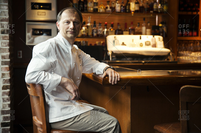 CANADA, Vancouver, British Columbia,  - May 29, 2013: portrait of executive chef Frank Pabst at the Blue Water Cafe Restaurant in Yaletown