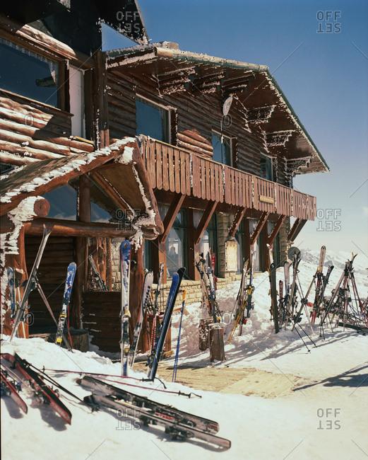 ARGENTINA, Bariloche, - August 11, 2010:  Cerro Cathedral, ski boards kept in front of ski resort