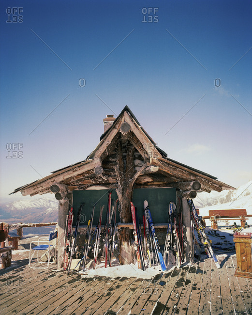 ARGENTINA, Bariloche,  - August 11, 2010: Cerro Cathedral, ski equipments arranged by ski resort