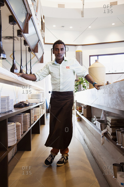 BERMUDA, Hamilton. - September 12, 2015:  Portrait of Chef Marcus Samuelsson at his Marcus' Restaurant at The Hamilton Princess & Beach Club Hotel.