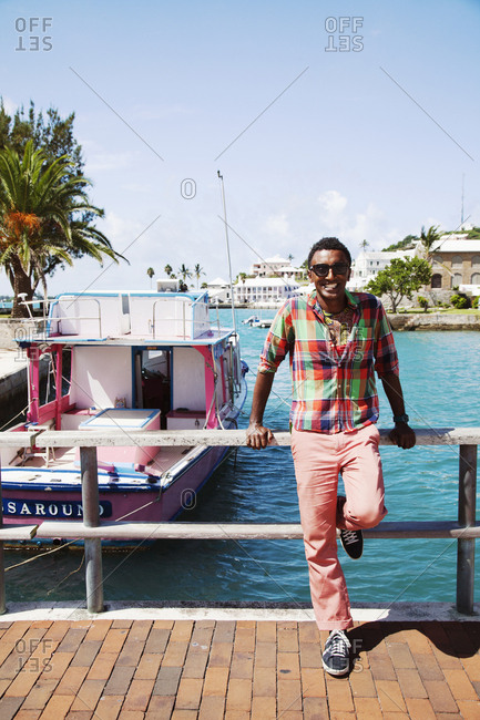 BERMUDA. St. George. - September 12, 2015:  Chef Marcus Samuelsson on a bridge in St. George.
