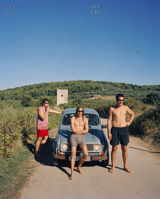 CROATIA, Dalmatian Coast,  - September 28, 2010: portrait of local guys in Korcula. They just came from a swim in the ocean.