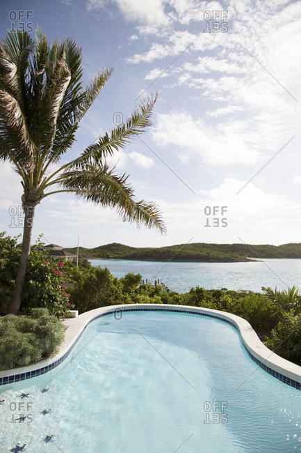 EXUMA, Bahamas. - October 27, 2011:  A pool at the Hill House which is the main common area at Fowl Cay Resort.