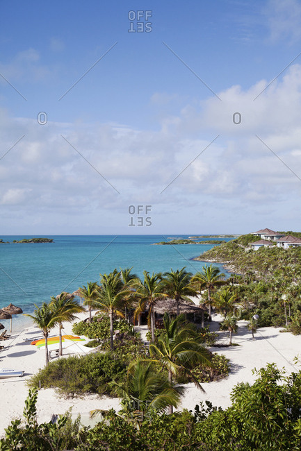 EXUMA, Bahamas. - October 27, 2011:  Private beach at the Fowl Cay Resort.
