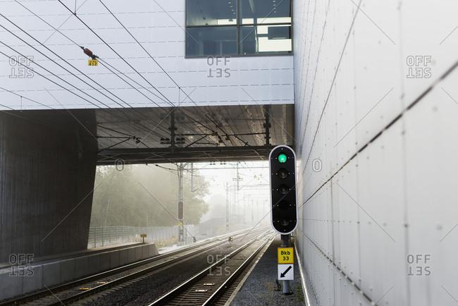 Green light on train track