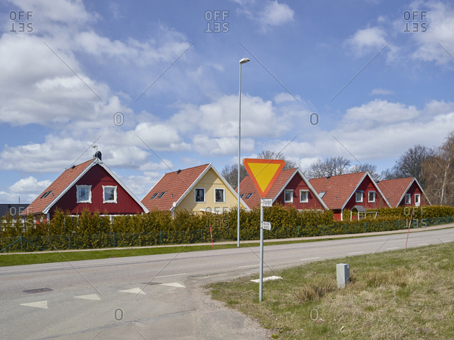 Wooden houses along road