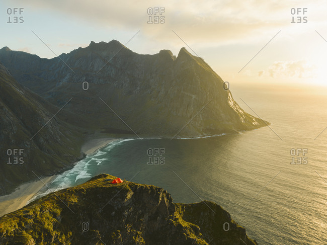 Tent on top of cliff