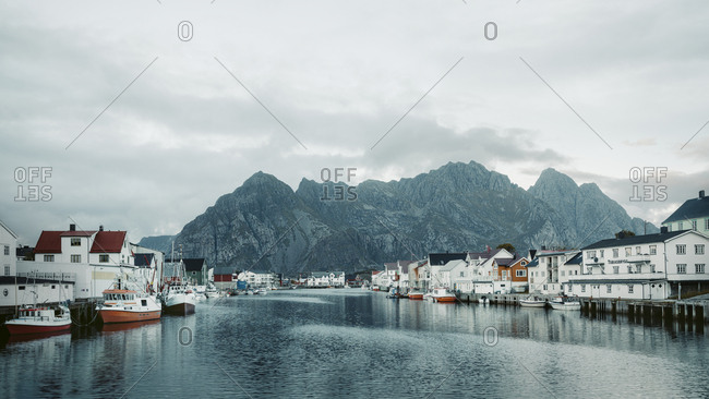 Norway - March 6, 2017: Buildings along bay
