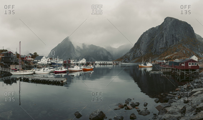 Norway - March 6, 2017: Boats in bay