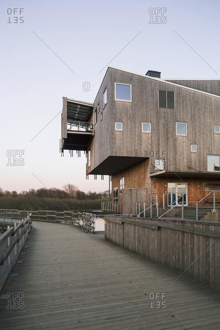 Sweden - April 16, 2015: Modern wooden building