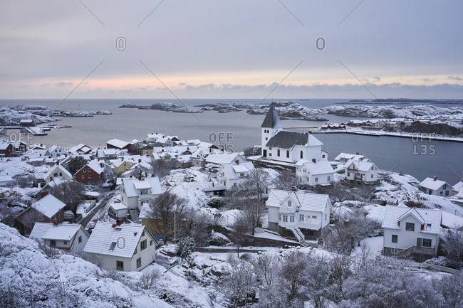 Town by sea in winter