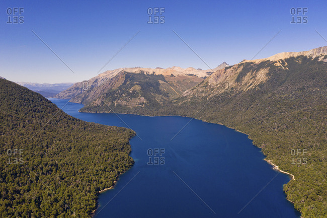 Aerial view of lake and mountains in Patagonia, Argentina