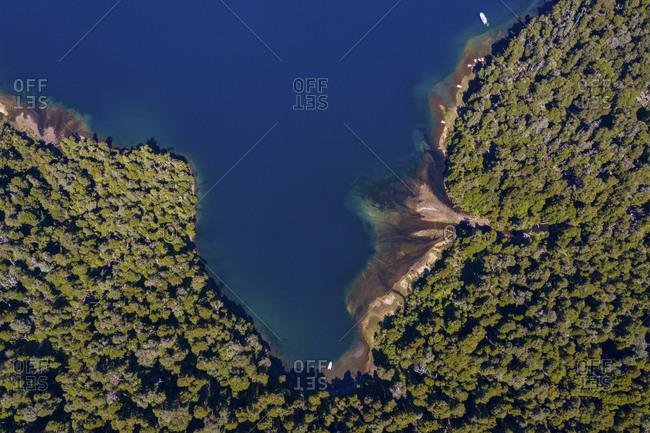Aerial view of Nahuei Huapi Lake