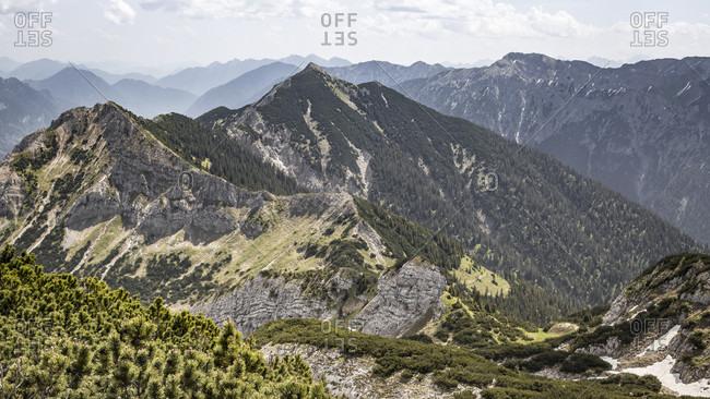 Mountain landscape at the Hochplatte, Ammergauer alps, Allgau, Bavaria, Germany