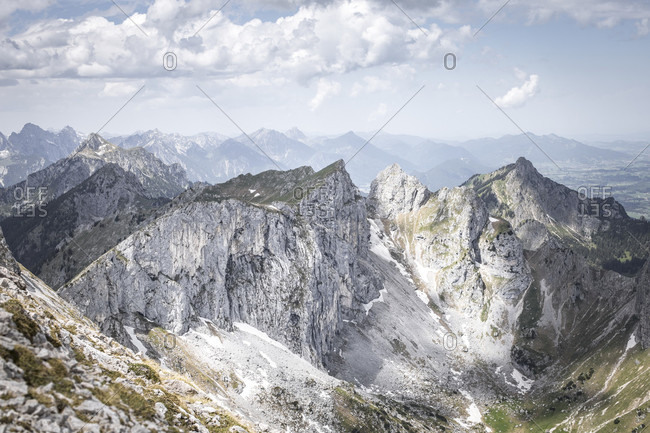 Mountain landscape at the Hochplatte, Ammergauer alps, Allgau, Bavaria, Germany