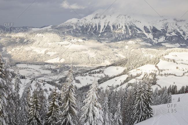 Snowy winter landscape at Soll, Wilder Kaiser, Tyrol, Austria