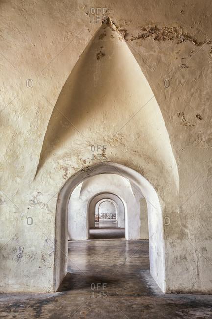 Stone archways in castle, Castillo San Cristobal, San Juan, Puerto Rico,San Juan, San Juan, Puerto Rico
