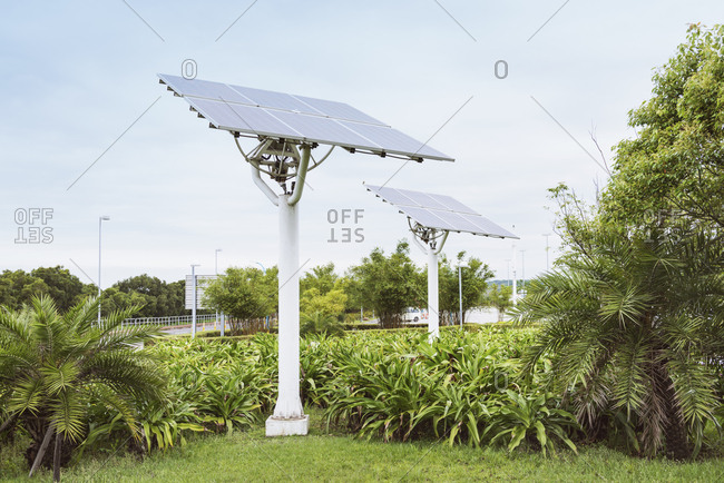 Solar panels in urban park,Bade City, Taiwan, Taiwan