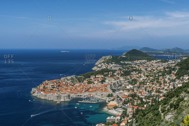 Aerial view of coastal city on hillside, Dubrovnik, Dubrovnik-Neretva, Croatia,Dubrovnik, Dubrovnik-Neretva, Croatia