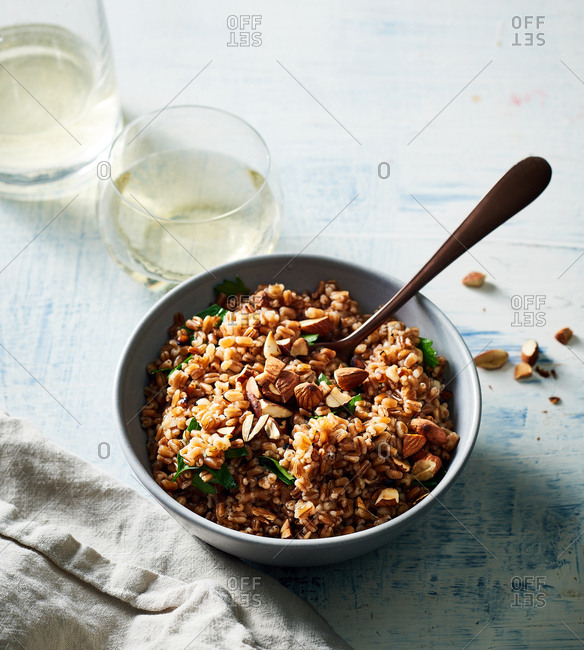 Herb infused wheat berry pilaf
