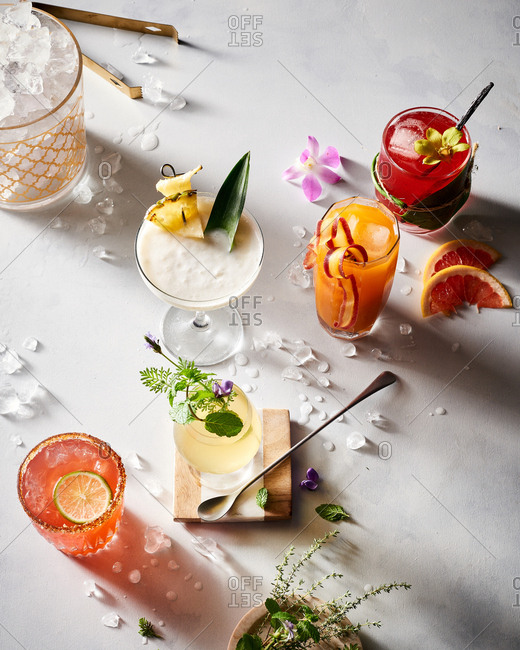 Various deconstructed botanical cocktails