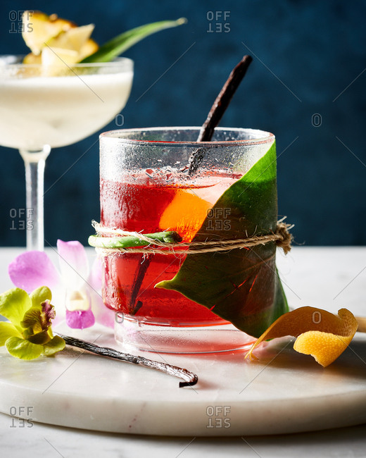 Close up of fruity cocktails