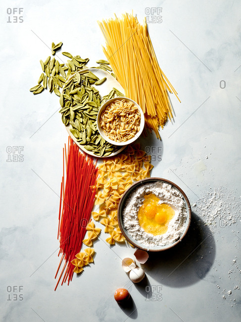 Overhead view of pasta in different sizes and colors