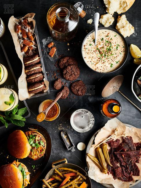 Overhead view of an amazing autumn themed foods spread for a party