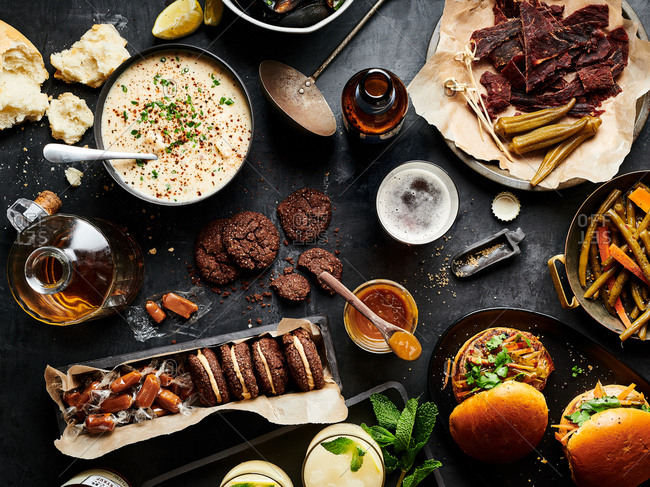 Table of autumn themed foods for a party