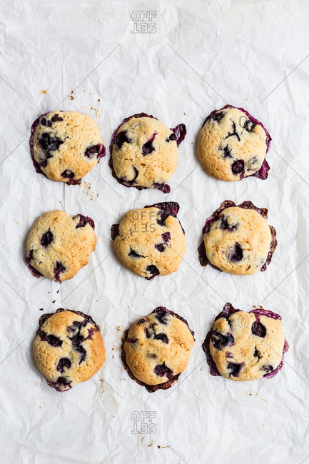 Overhead of blueberry cookies - Offset