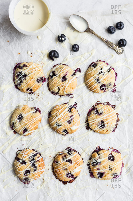 Overheard of blueberry cookies drizzled with white chocolate