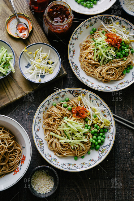 Overhead view of Asian Sesame Noodle dish