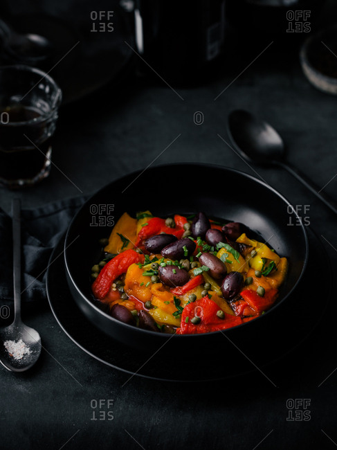 Roasted sweet peppers and olives