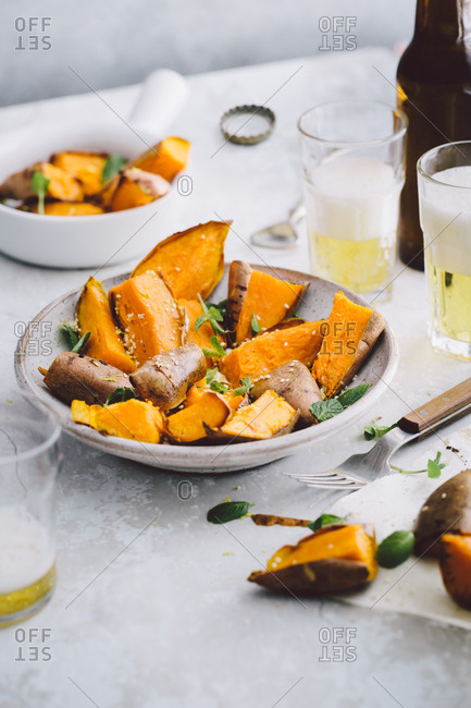 Roasted sweet potato dish