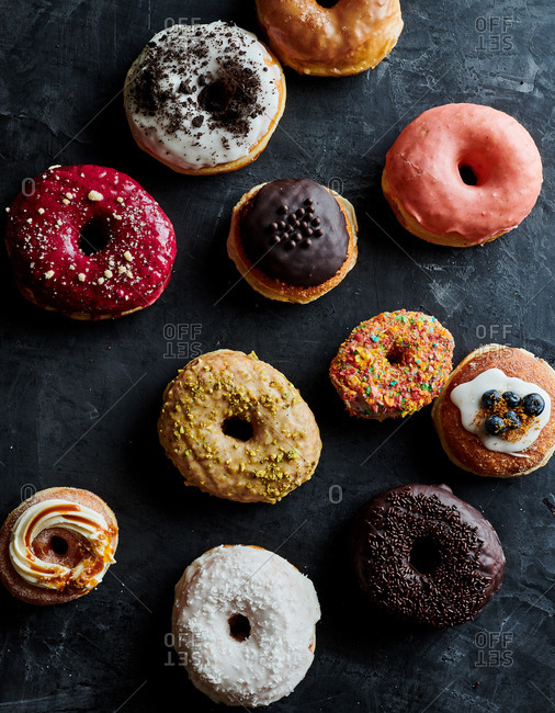 Overhead view of a variety of donuts
