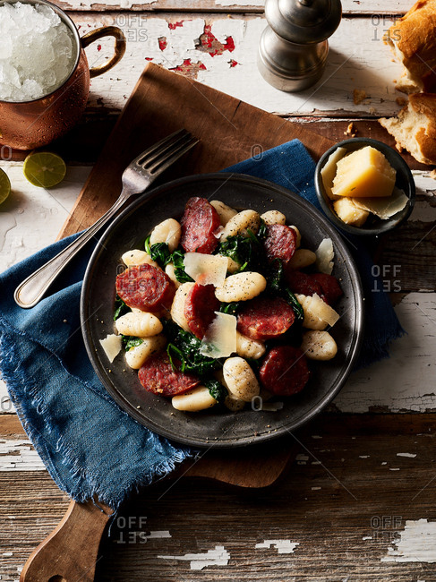 Gnocchi dish on rustic table
