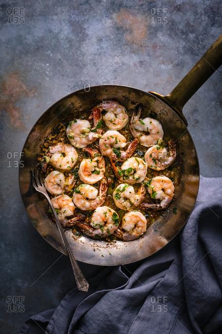 Sauteed garlic shrimp overhead shot