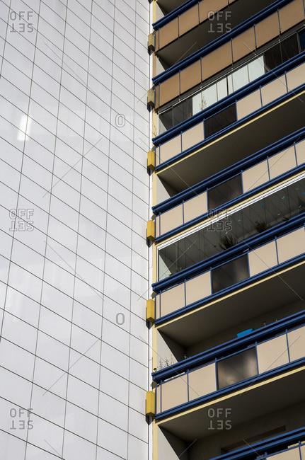 Balconies of an apartment block in Berlin, Germany.