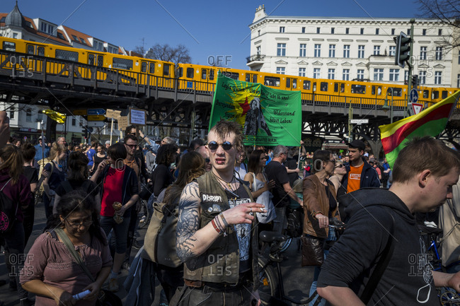 April 6, 2019: Protesters at the Mietwahnsinn demonstration about rising rents, pass through Schlesisches Tor in Berlin, Germany.