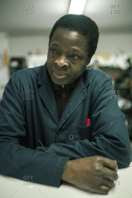 portrait of black man of 60 years in his business