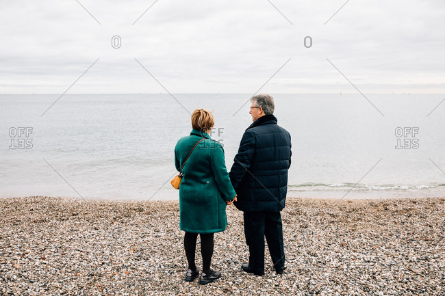 Rear view of an older couple by the sea