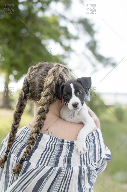 the back of a girl with pick tails holing a dog with sad eyes in Glost
